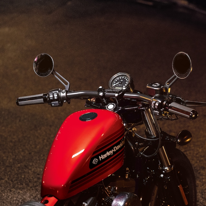 Red Gas Tank on a 2019 H-D Sportster motorcycle